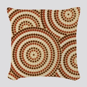 Dot Painting Earth Woven Throw Pillow