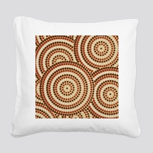 Dot Painting Earth Square Canvas Pillow