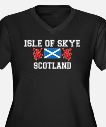 Isle of Skye Women's Plus Size V-Neck Dark T-Shirt