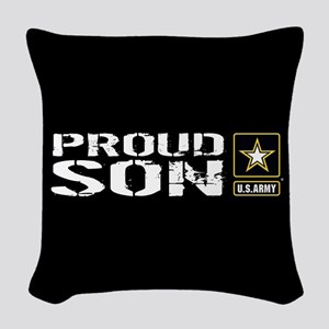 U.S. Army: Proud Son (Black) Woven Throw Pillow