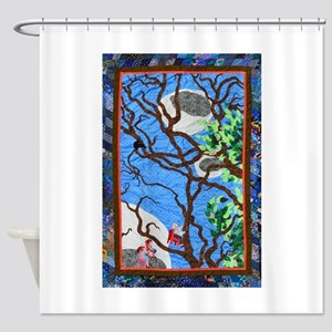 Three Flying Chairs Abstract Quilt Shower Curtain