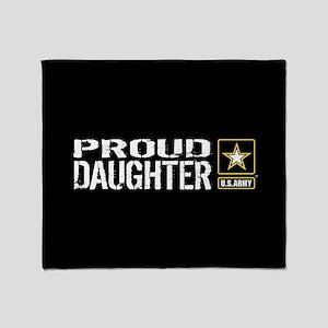 U.S. Army: Proud Daughter (Black) Throw Blanket