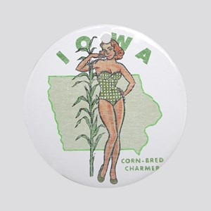 Faded Iowa Pinup Round Ornament