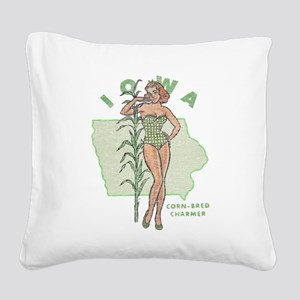 Faded Iowa Pinup Square Canvas Pillow