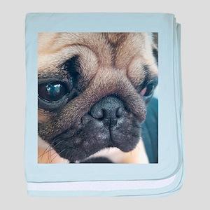 Thinking Pug baby blanket