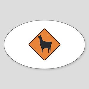 Llama Crossing Oval Sticker
