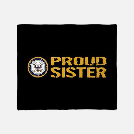 U.S. Navy: Proud Sister (Black) Throw Blanket