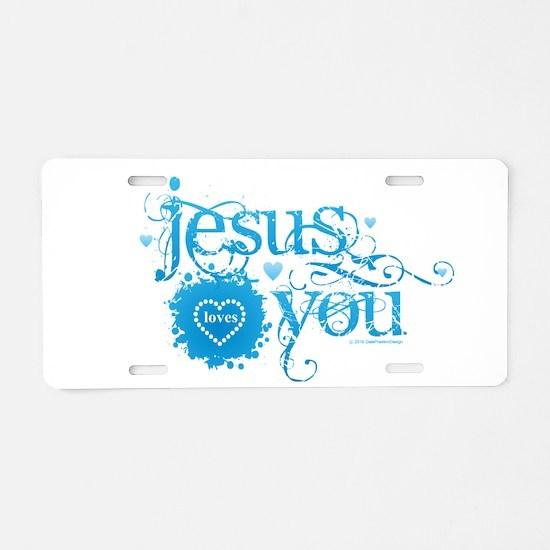 Unique Jesus loves you Aluminum License Plate