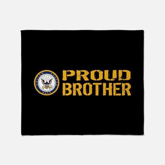 U.S. Navy: Proud Brother (Black) Throw Blanket