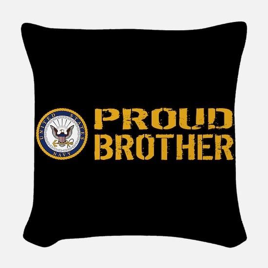 U.S. Navy: Proud Brother (Blac Woven Throw Pillow