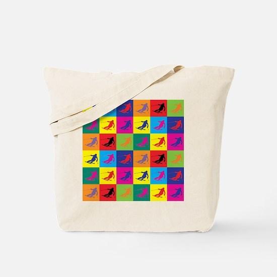 Pop Art Skiing Tote Bag