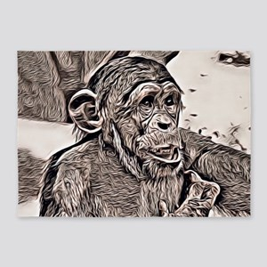Rustic Style -young chimpanzee 5'x7'Area Rug