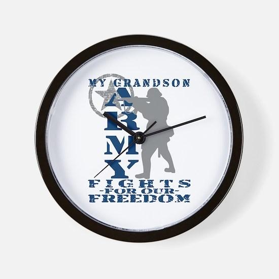 Grndson Fights Freedom - ARMY  Wall Clock