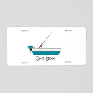 Gone Fishin Aluminum License Plate