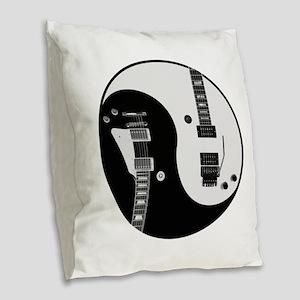 Guitar Yin Yang Burlap Throw Pillow