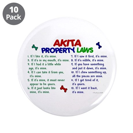 """Akita Property Laws 2 3.5"""" Button (10 pack)"""