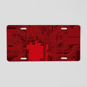 Red Geek Motherboard Circui Aluminum License Plate