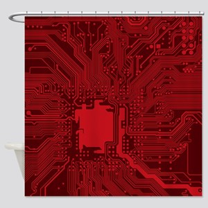 Red Geek Motherboard Circuit Patter Shower Curtain