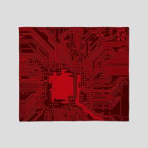 Red Geek Motherboard Circuit Pattern Throw Blanket