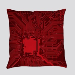 Red Geek Motherboard Circuit Patte Everyday Pillow
