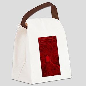 Red Geek Motherboard Circuit Patt Canvas Lunch Bag
