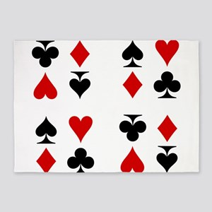 Poker Cards Suits 5'x7'Area Rug