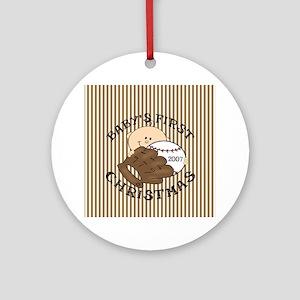 Boy's First Christmas Baseball Ornament (Round)