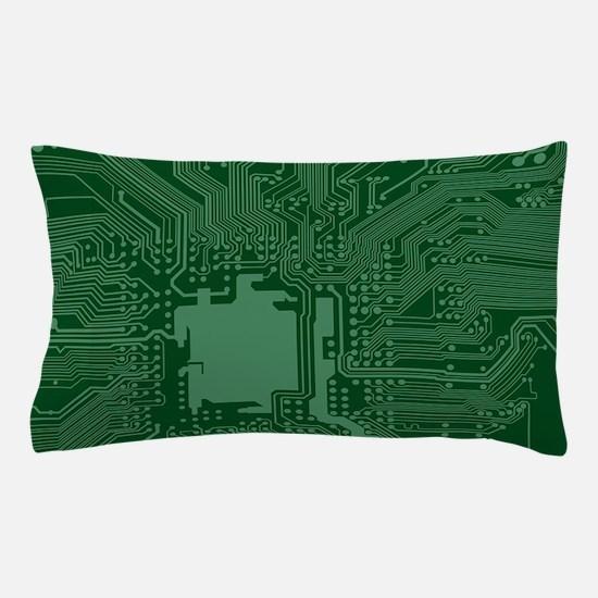 Green Geek Motherboard Circuit Pattern Pillow Case