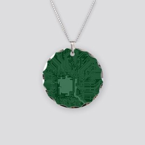 Green Geek Motherboard Circu Necklace Circle Charm