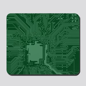 Green Geek Motherboard Circuit Pattern Mousepad