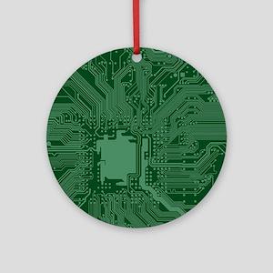 Green Geek Motherboard Circuit Patt Round Ornament