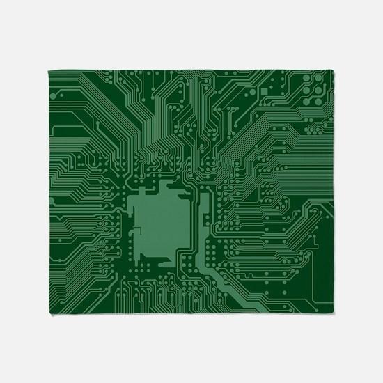 Green Geek Motherboard Circuit Patte Throw Blanket