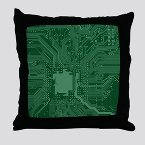 Green Geek Motherboard Circuit Patter Throw Pillow