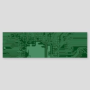 Green Geek Motherboard Circuit Patt Bumper Sticker