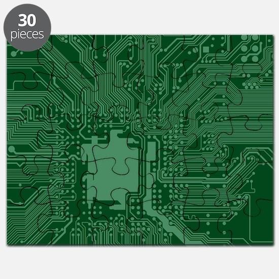 Green Geek Motherboard Circuit Pattern Puzzle