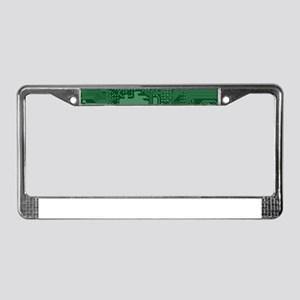 Green Geek Motherboard Circuit License Plate Frame