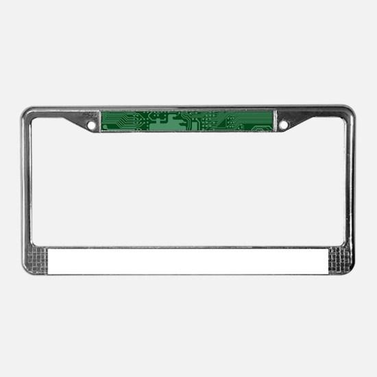 Green Geek Motherboard Circuit License Plate Frame