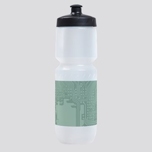 Green Geek Motherboard Circuit Patte Sports Bottle