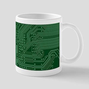 Green Geek Motherboard Circuit Pattern Mugs