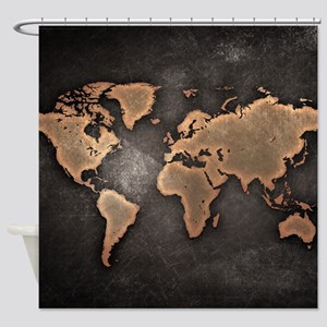 World Map Shower Curtain