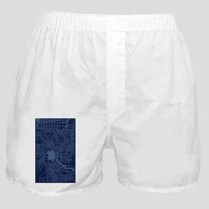 Blue Geek Motherboard Circuit Pattern Boxer Shorts