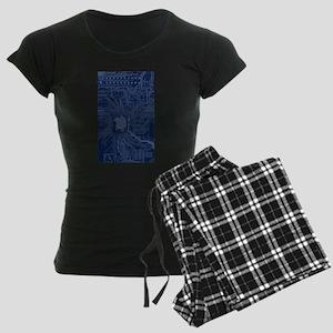 Blue Geek Motherboard Circui Women's Dark Pajamas