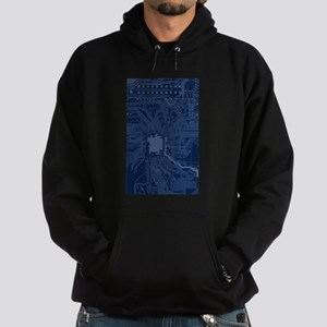 Blue Geek Motherboard Circuit Patter Hoodie (dark)