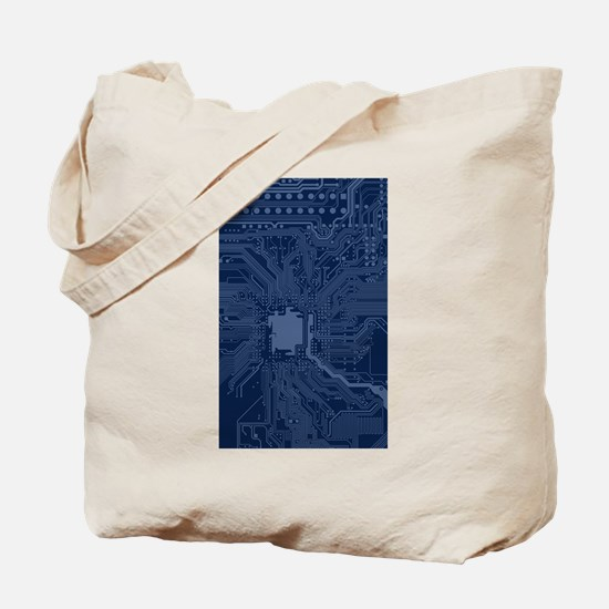 Blue Geek Motherboard Circuit Pattern Tote Bag
