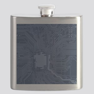 Blue Geek Motherboard Circuit Pattern Flask