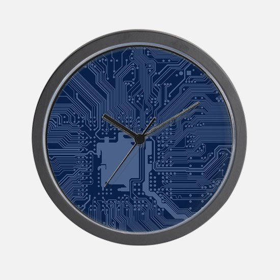 Blue Geek Motherboard Circuit Pattern Wall Clock