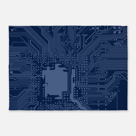 Blue Geek Motherboard Circuit Patte 5'x7'Area Rug