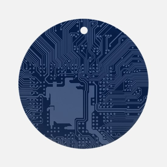 Blue Geek Motherboard Circuit Patte Round Ornament