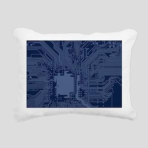 Blue Geek Motherboard Ci Rectangular Canvas Pillow