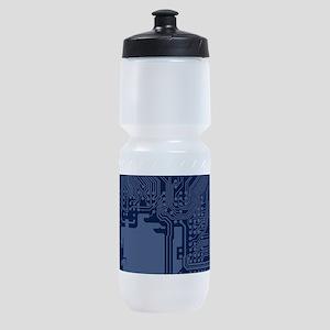 Blue Geek Motherboard Circuit Patter Sports Bottle